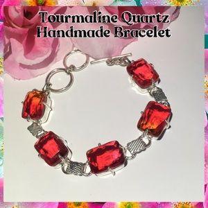 Lovely Tourmaline Quartz Handmade Toggle Bracelet